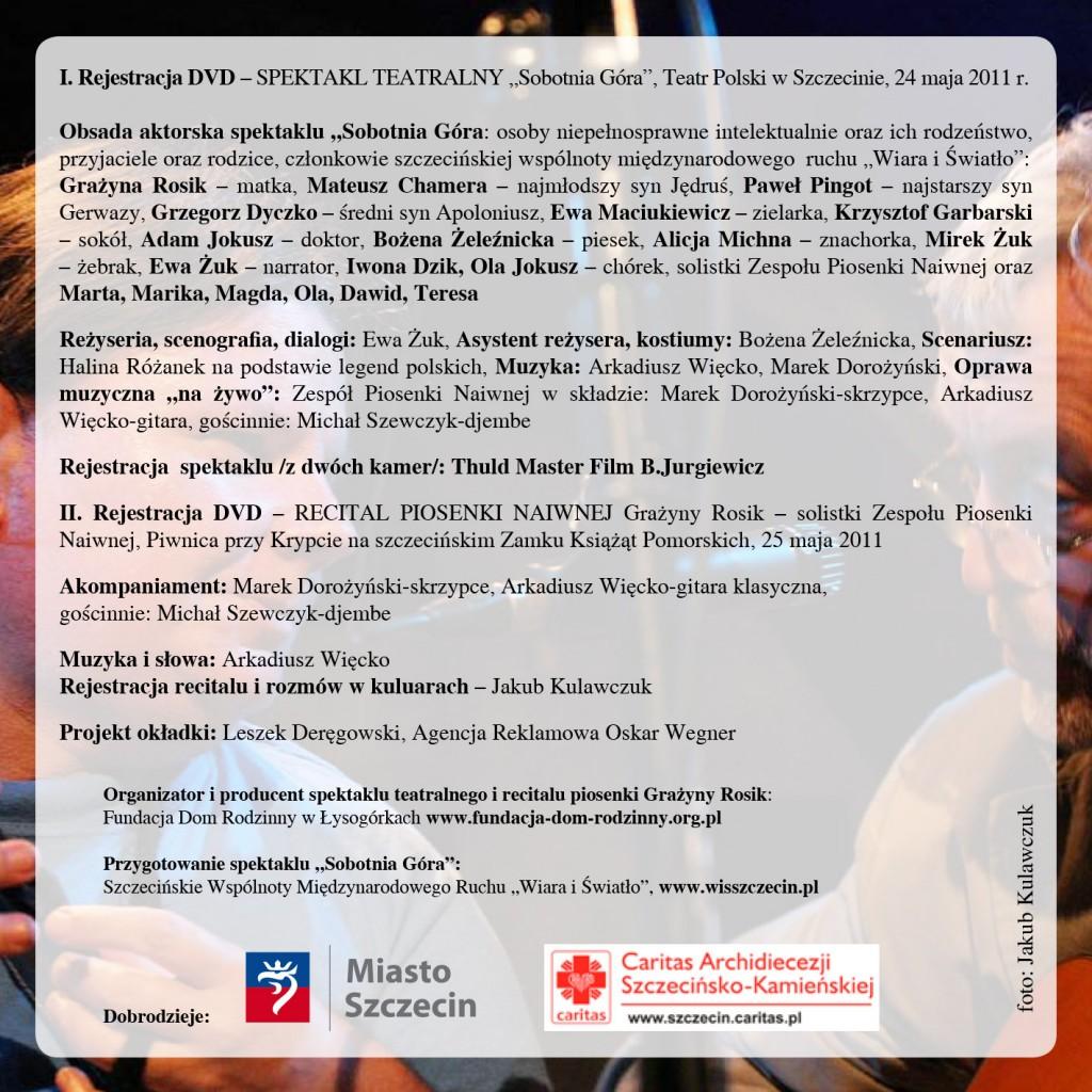 okładka płyty dvd  spektakl Sobotnia gora w Teatrze Polskim i Recital G3